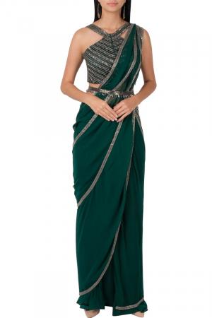 Bottle green belted saree