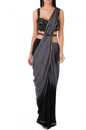 Ombre grey black saree