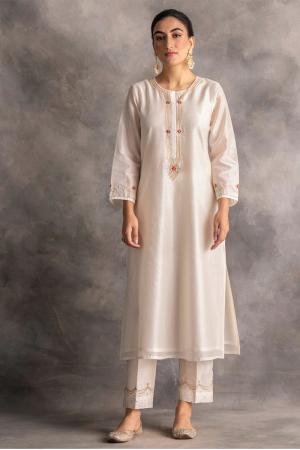 off white silk chanderi kurta and pants
