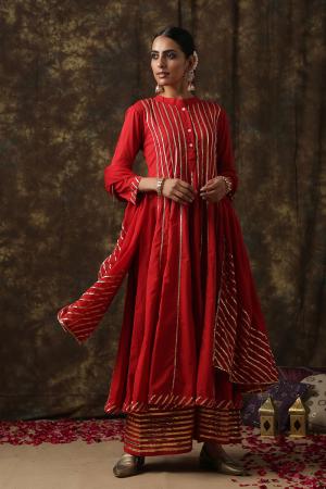 red Mrinalika salwar suit