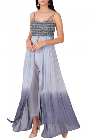 Blue grey strappy pleated set with pants