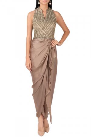 Draped taupe dress