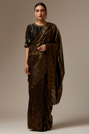 black cotton sarees set