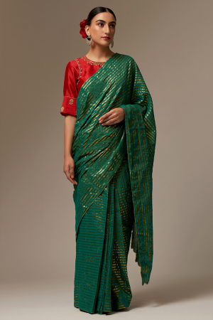 green and red cotton and silk chanderi sarees set