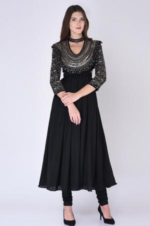 Black Embroidered Anarkali Set