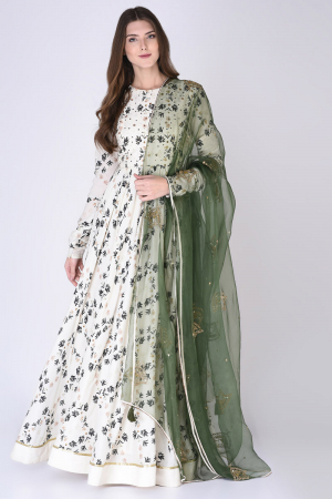 Ivory & Green Anarkali Set