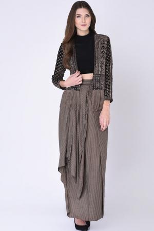 Brown Draped Skirt & Jacket Set