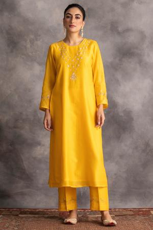 yellow silk chanderi kurta and pants