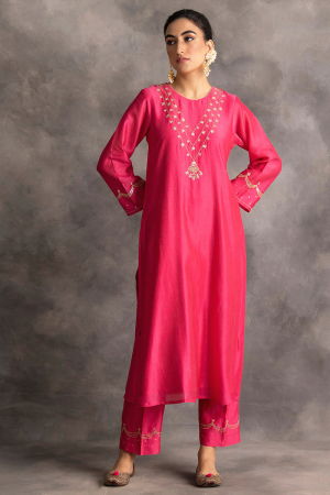 fuchsia silk chanderi kurta and pants