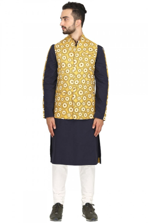 Mandala print bundi with navy kurta set
