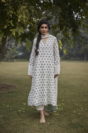 Moss Green Floral Blockprinted Kurta Set