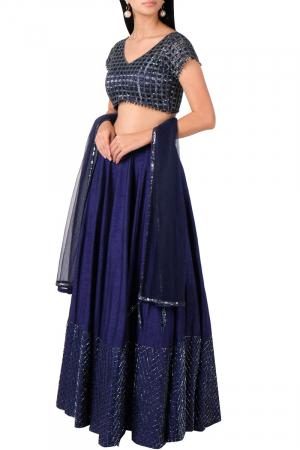 Midnight blue cut work blouse with lehenga