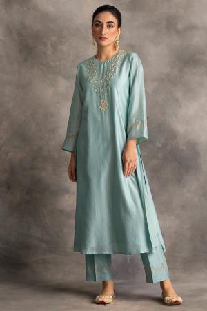 blue silk chanderi kurta and pants