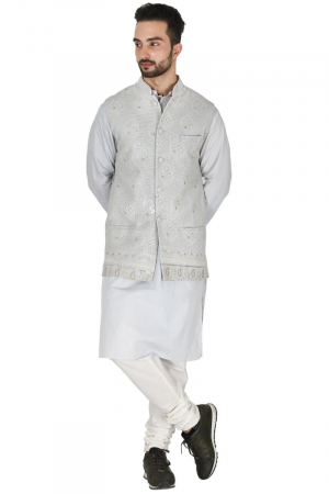 Ice grey lucknowi bundi with tonal kurta set
