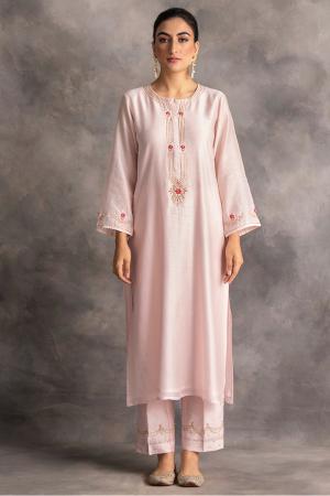 pastel pink silk chanderi kurta and pants