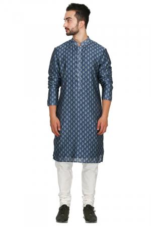 Blue ambi print chanderi kurta