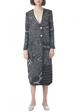Gul black embroidered coat dress
