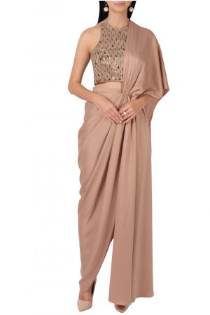 Beige satin draped sari