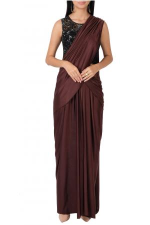 Black & maroon draped sari