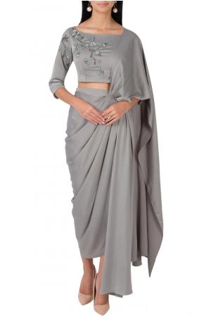 Sage green pre-draped saree