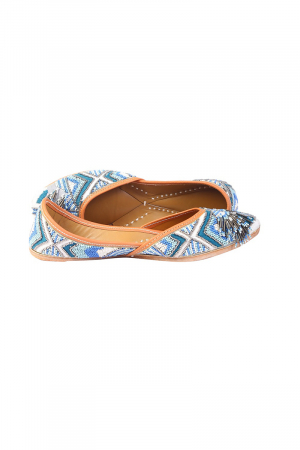 Blue Leather beads and white threads work  Jutti ( Heel Height 0.5 inch )