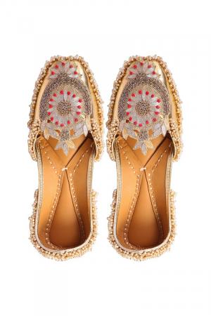Golden Faux Leather Velvet Fabric and kutdana work Jutti ( Heel Height 0.5 inch )