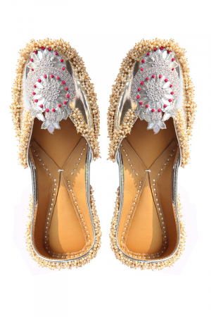 Silver Faux Leather Embroidered patch and mogra beads work Jutti ( Heel Height 0.5 inch )