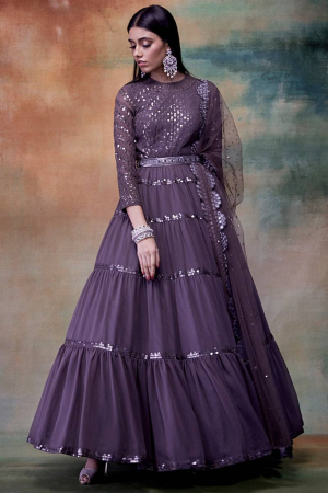 Charcoal Grey Embroidered Anarkali With Dupatta