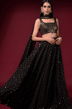 Black Embroidered Gharara Set