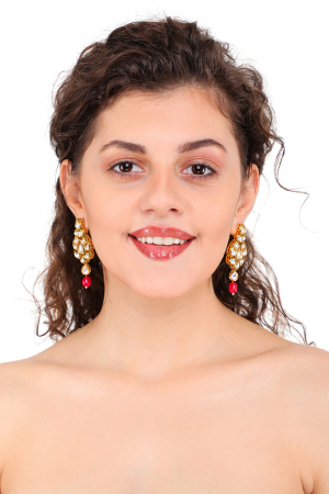 Gold plated Kundan Earings with Red drops
