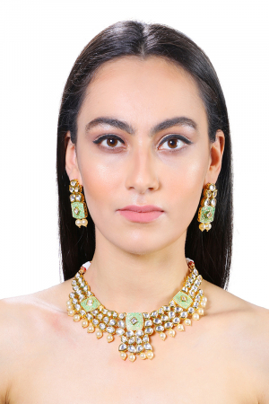 Gold Plated Kundan with Faux Pearl & Green Enameled Necklace Set