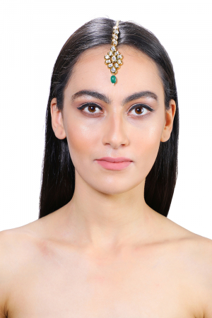 Gold plated kundan  maangtikka with green stone