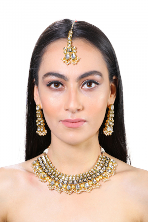 Gold plated  Kundan blue line Necklace set  with white pearls drops
