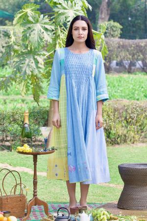 blue centre honey comb dress
