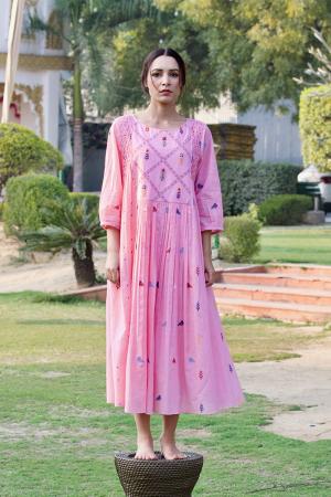 pink honey comb garden dress