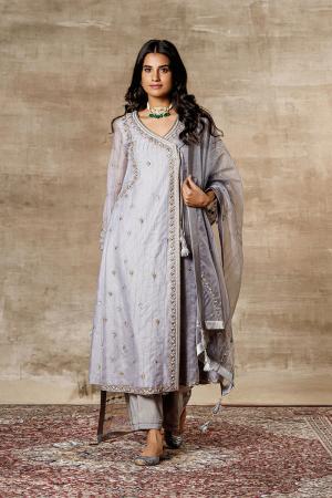 Grey organza embroidered overlay angrakha set