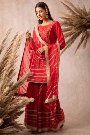 Red straight kurta and garara set