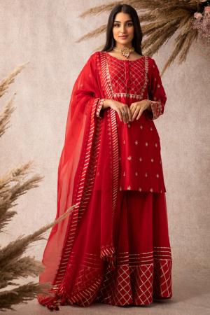 Red short kurta sharara set