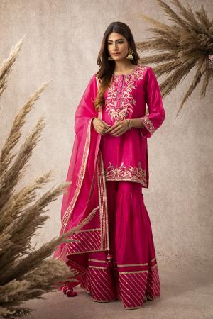 Rani pink short kurta garara set