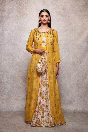 mustard kota doria and mulmul farah jacket set