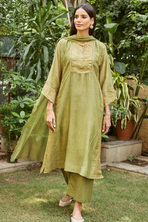 Leaf green embroidered tissue kurta set