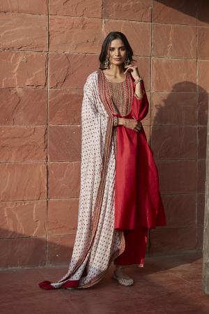 Scarlet Ivory Embroidered Bandhani Kurta Set