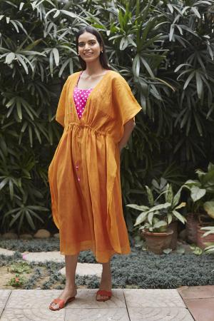 Saffron Bandhani Kaftan