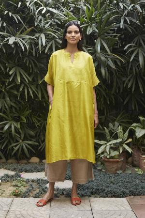 Canary Yellow Flowy Silk Kurta Set