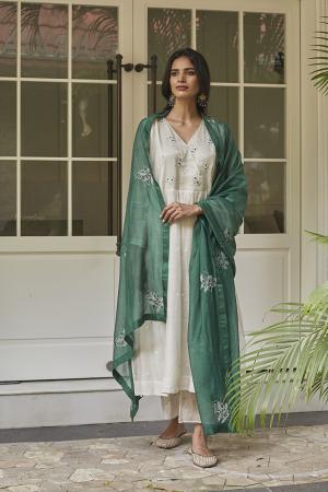 Ivory and Emerald Embroidered Kurta Set