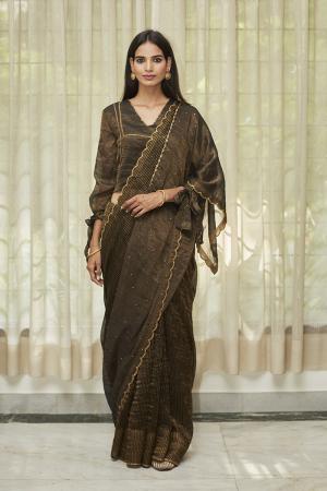 Midnight Black Embroidered Tissue Saree