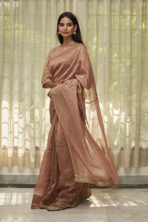 Blush Embroidered Tissue Saree