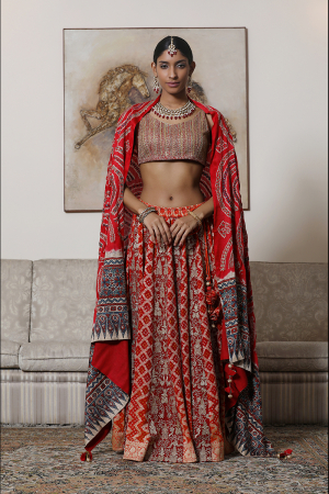 Blouse with bandhej lehenga with dupatta