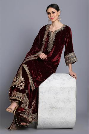 Silk velvet straight tunic with sharara and odhni