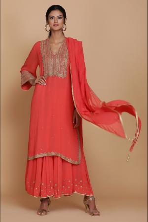 Red straight tunic with sharara